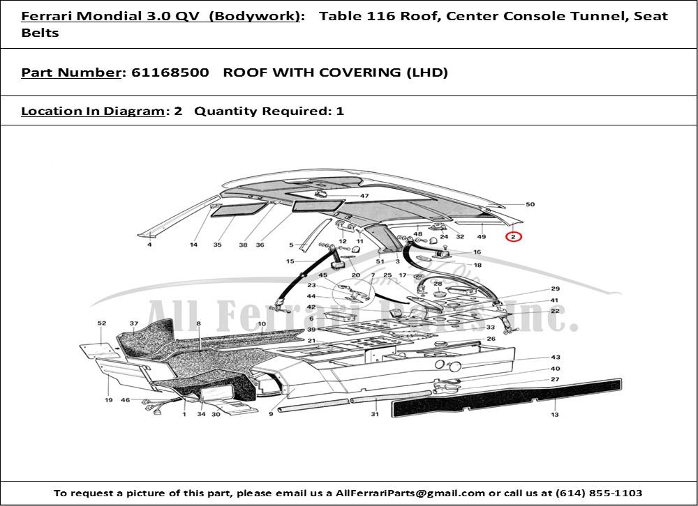 Ferrari Part 61168500 Roof With Covering  Lhd  In Ferrari
