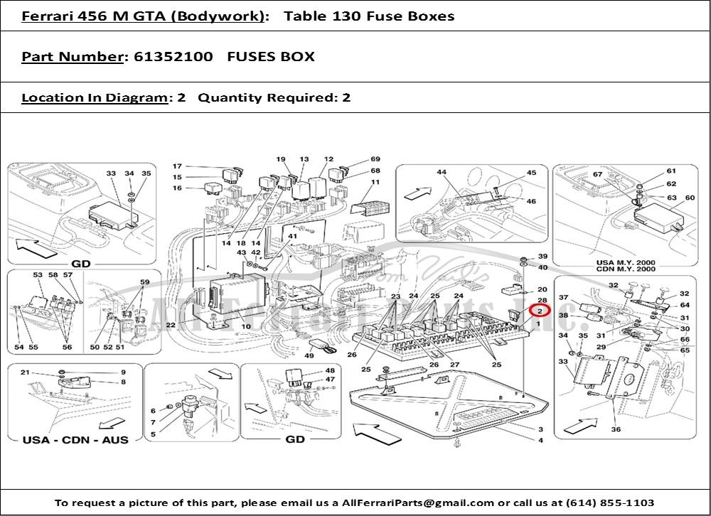 Ferrari Part 61352100 Fuses Box in Ferrari 456 M GTA (Bodywork Table 130 Fuse  Boxes)   2003 Maserati Coupe Fuse Box      All Ferrari Parts