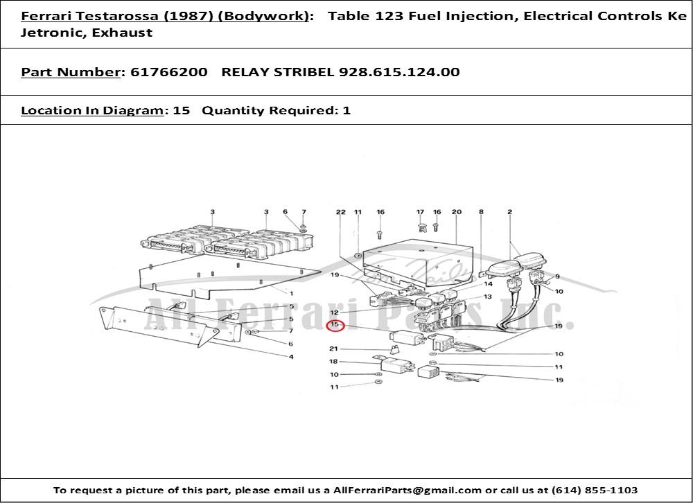 Ferrari Part 61766200 Relay Stribel 928 615 124 00 In Ferrari Testarossa  1987   Bodywork Table