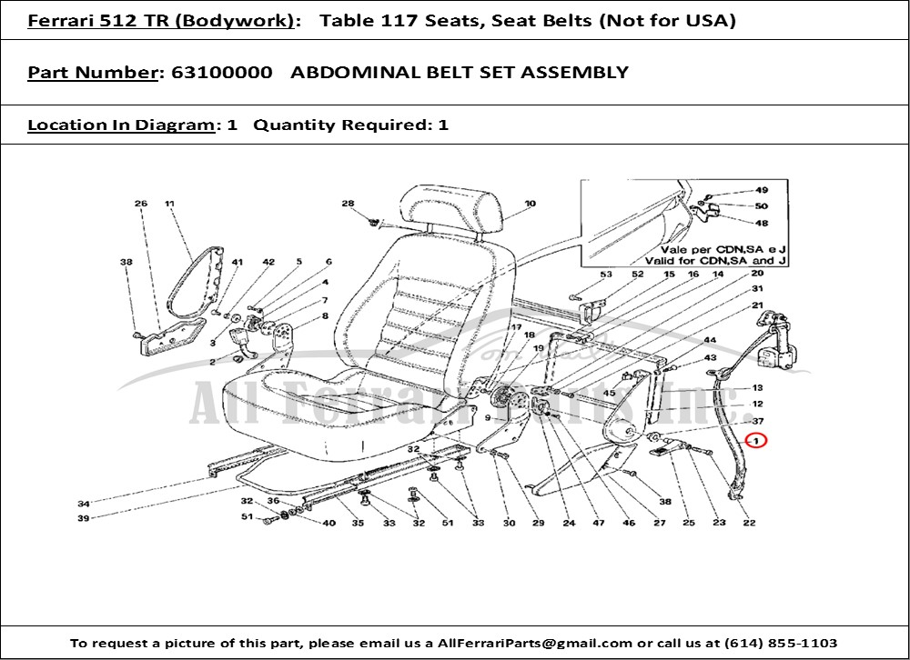 Ferrari Part 63100000 Abdominal Belt Set Assembly In Ferrari 512 Tr  Bodywork Table 117 Seats