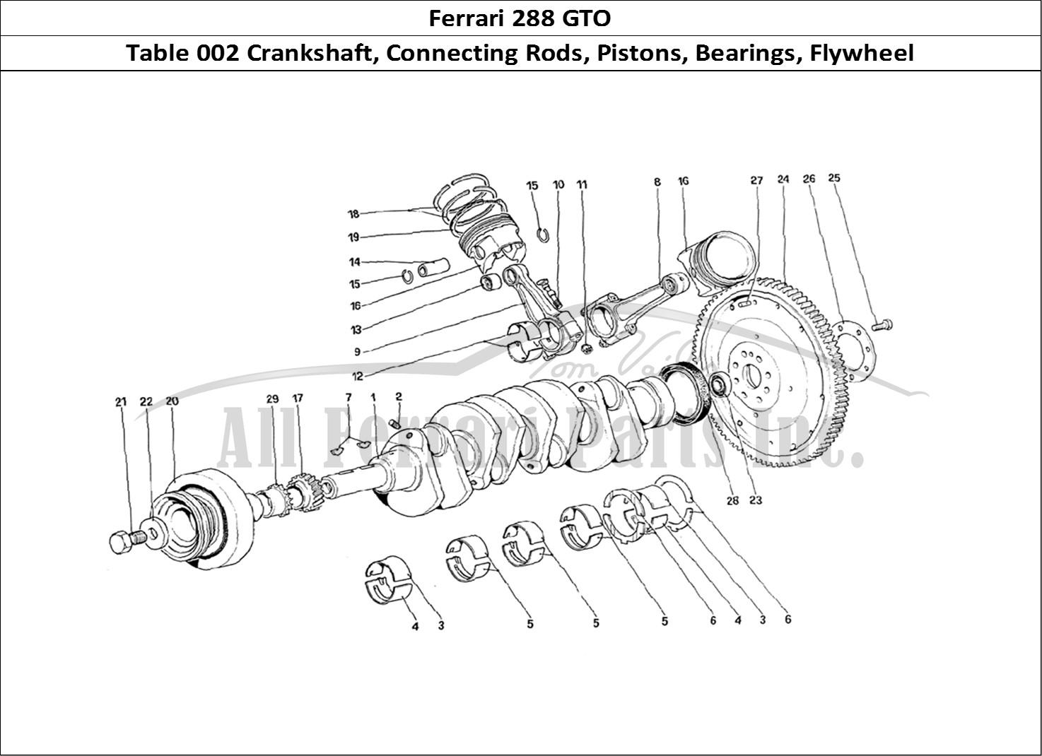 buy original ferrari 288 gto 002 crankshaft  connecting rods  pistons  bearings  flywheel