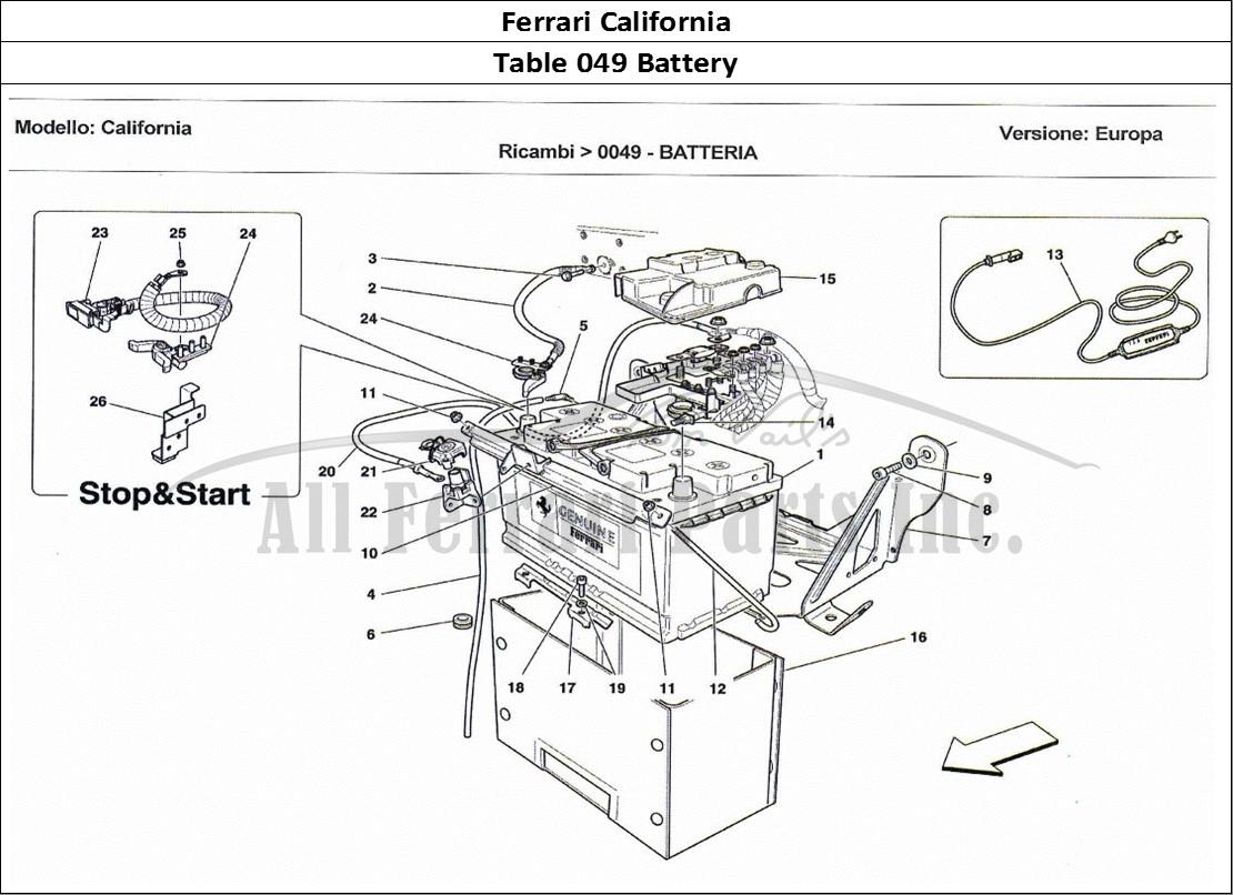 Buy original Ferrari California 049 Battery Ferrari parts ...