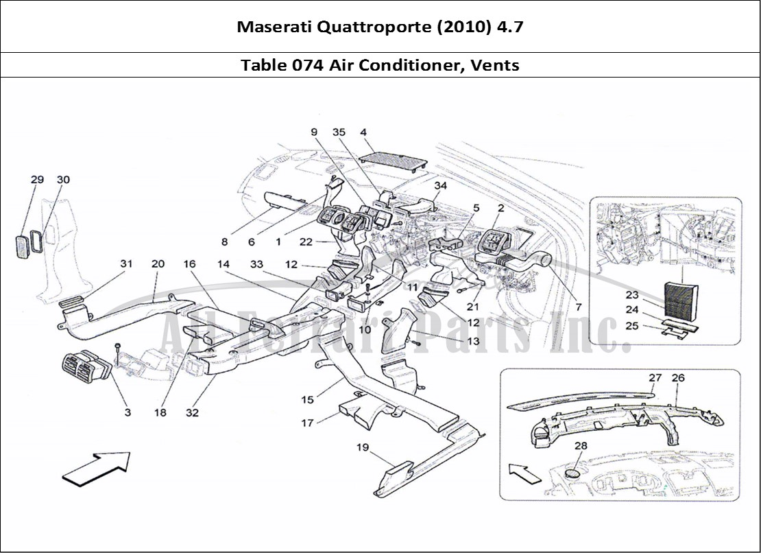 Buy Original Maserati Quattroporte 2010 47 074 Air Conditioner Wiring Diagram Granturismo Bodywork Table Vents